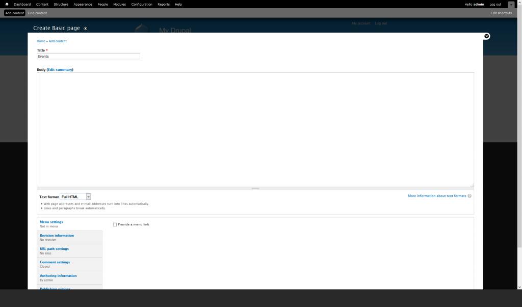 Create-Basic-page drupal