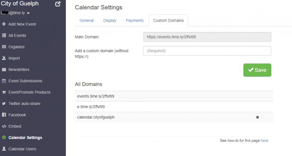 Custom domain- website calendar