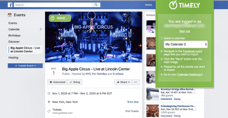 Import Facebook events with a single click