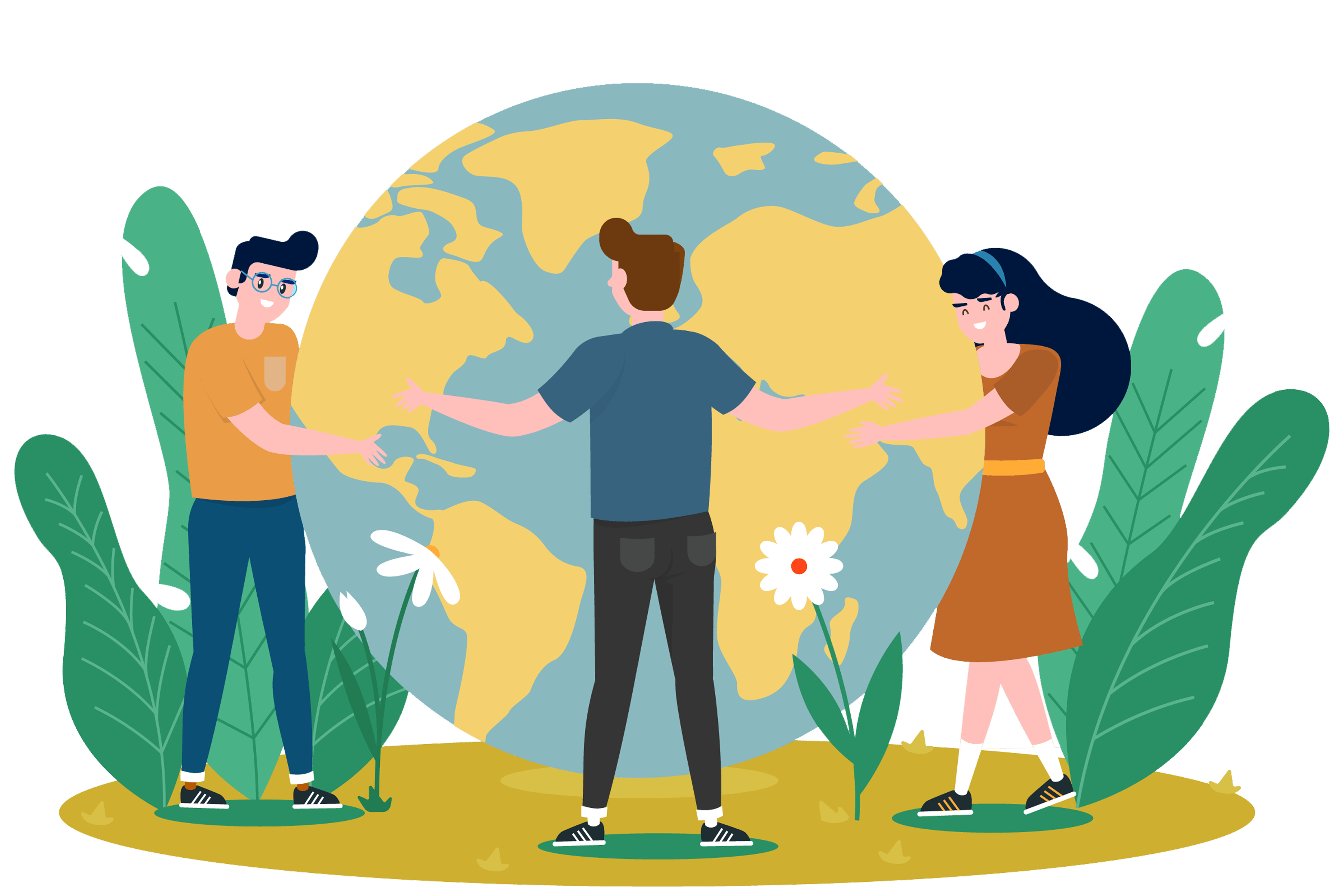 happy teachers hugging the planet because they use Timely Online School Agenda