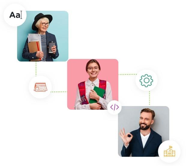 Administradores escolares, funcionários, professores, satisfeitos porque a agenda escolar online Timely é fácil de usar e personalizar