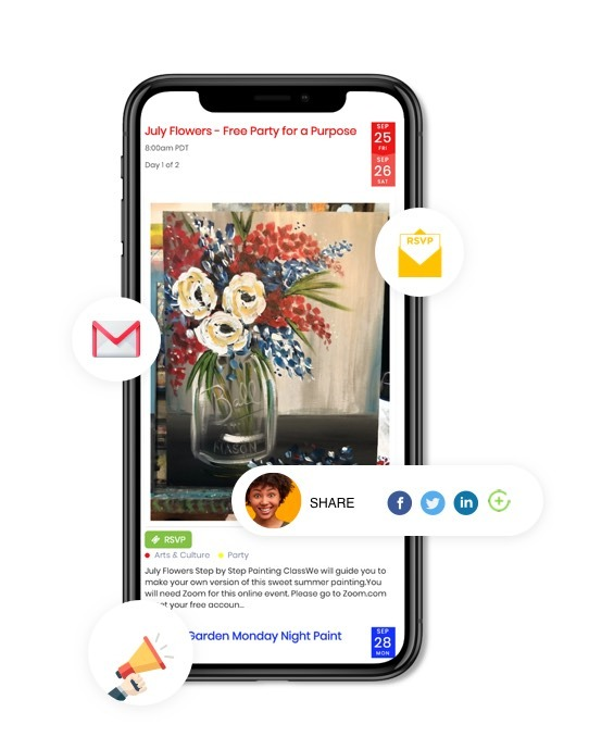 mobile view of timely events calendar software with events being promoted on social media and newsletter