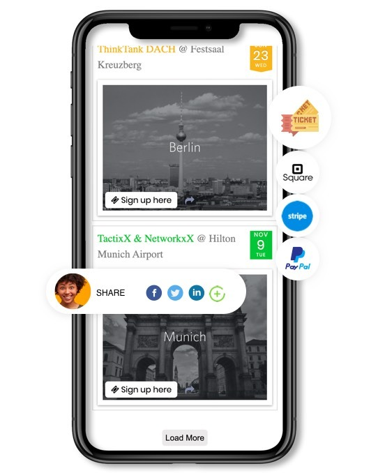 Mobiler Bildschirm mit der Software für das rechtzeitige Veranstaltungsmanagement und die Software für den Verkauf von Veranstaltungstickets