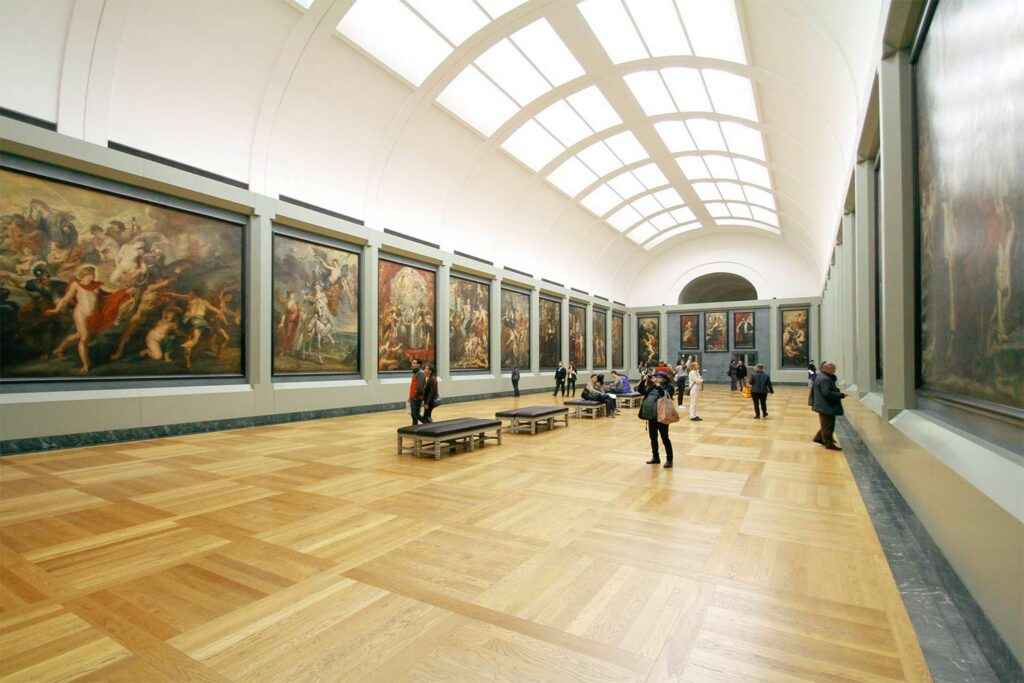 event venue like a museum or an art gallery hosting an art exhibition