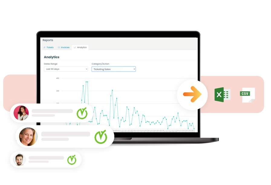 timely event ticketing software dashboard showing ticket sales increase on analytics
