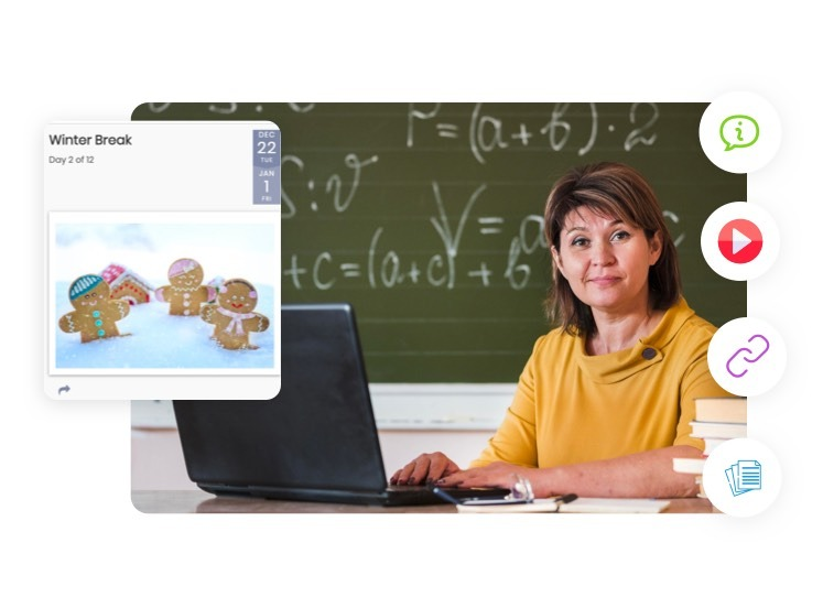 school teacher happy using timely online school agenda to connect with her students online