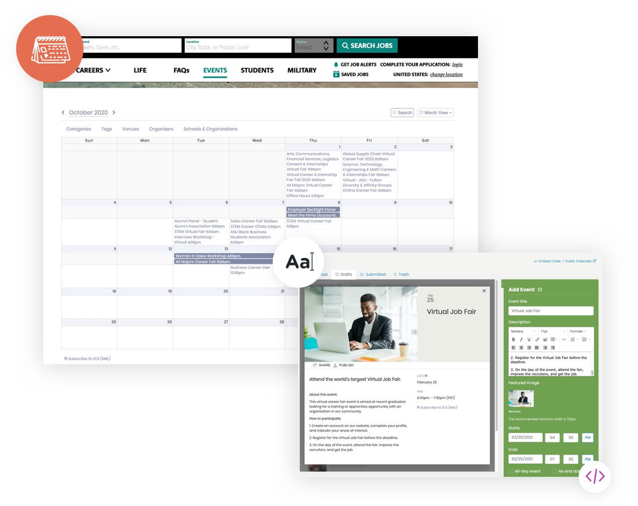 training calendar embed on website dashboard creating virtual event