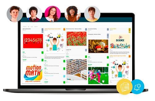 laptop mostrando a agenda escolar on-line em exibição pública