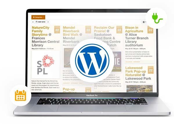 laptop showing Timely event calendar wordpress plugin