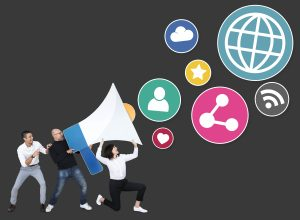 people with megaphone social media marketing icons