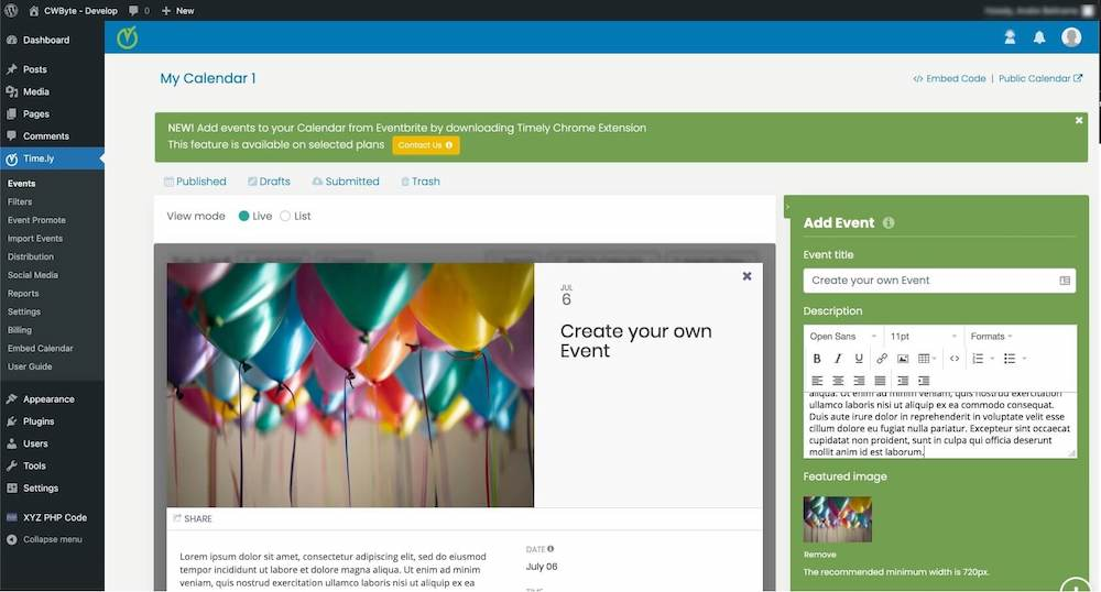 Timely all in one event calendar wordpress plugin mobile view