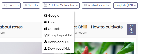 print screen of the add to calendar button on top of the Public Calendar