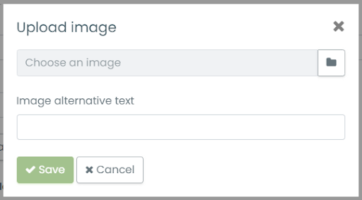 print screen of the popup where the user can add the alternative text for an image when uploading it in Timely event management dashboard